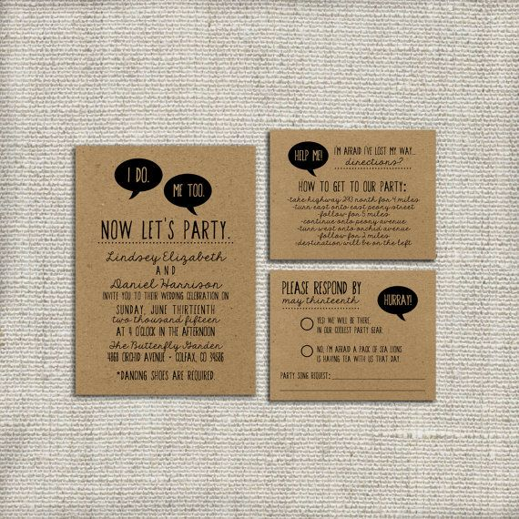 DIY Wedding Invitation Suite I Do, Me Too DEPOSIT - Printable, Custom, Quirky, Kraft Paper, Funny, Hipster, Invite Kit, Digital (Design #43)