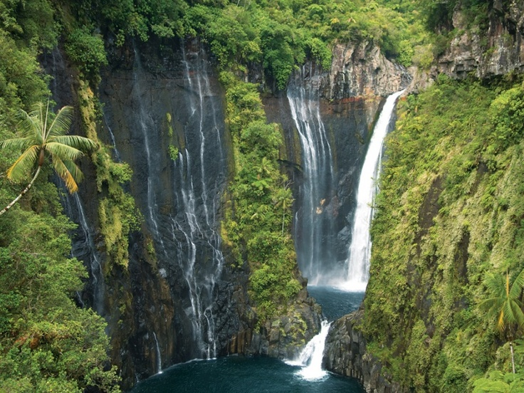 The Takamaka Waterfalls in Reunion Island, Indian Ocean. by Serge Gélabert