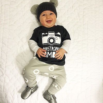 New INS FAMOUS Newborn Baby Printed T-shirt Tops + Trousers Outfits Set 0-24M