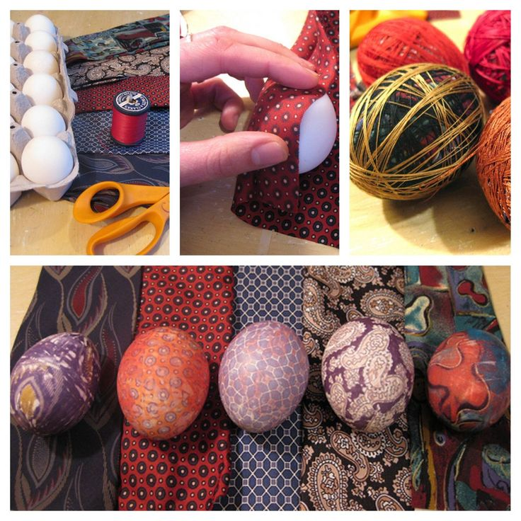 Old silk ties make nice Easter eggs. Wrap with thread and boil until hard-boiled.