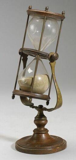 Hourglass; Brass, Glass, Wood, 20-Minute, 15 inch.  Year: 1840 - 1860