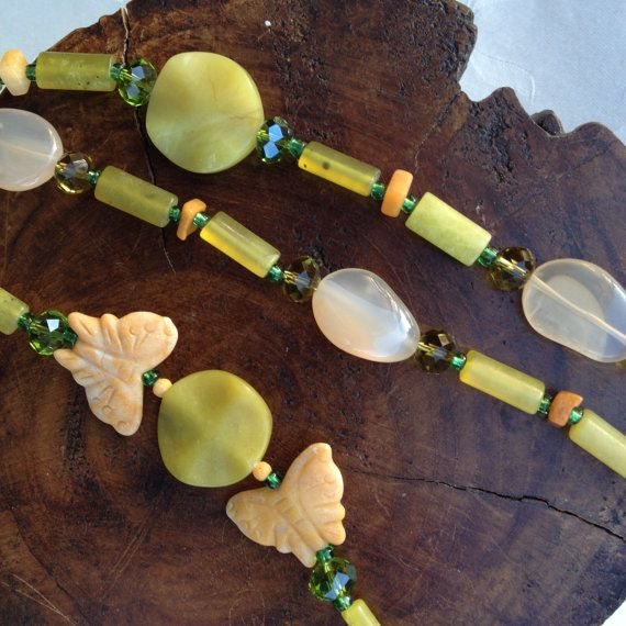 Semi-Precious Stone Necklace  Twin Butterfly  by BluePearEmporium