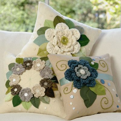 Crochet decorated cushion