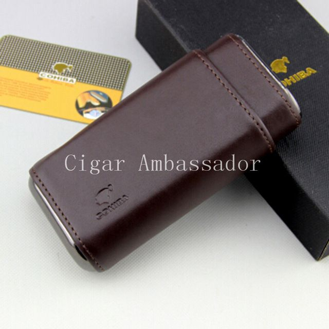 COHIBA Excellent Brown Travel Portable Leather Cedar Lined Cigar Holder Case Humidor.  $23.45