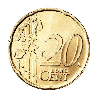 20 Euro Cent Coin Old Style (Common Side)