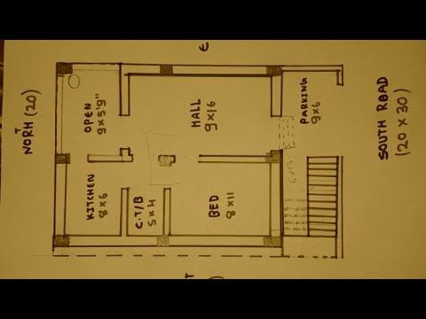 20 30 South Face House Plan Map Naksha Youtube 20x40 House Plans South Facing House House Map