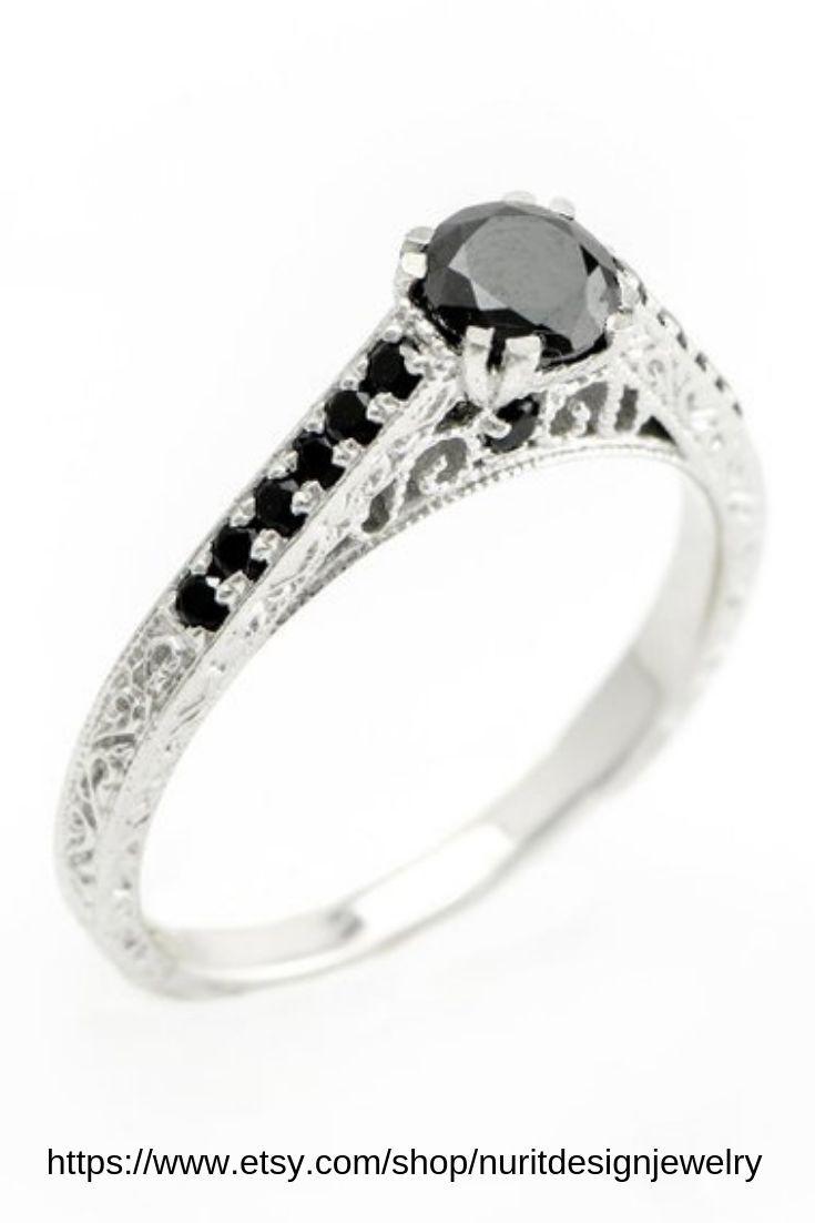 Luxurious Black Diamonds Engagement Ring Dainty 18k White Etsy Black Diamond Ring Engagement 18k White Gold Engagement Rings Unique Engagement Rings