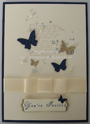 Stampin' Up!  wedding invitation. French foliage and beautiful wings butterflies