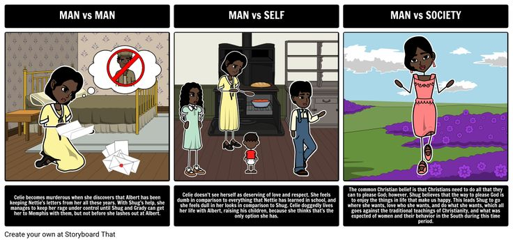 The Color Purple by Alice Walker - Literary Conflict: For this activity, have your students choose an example of each literary conflict and depict them using the storyboard creator. In the storyboard, an example of each conflict should be visually represented, along with an explanation of the scene, and how it fits the particular category of conflict.