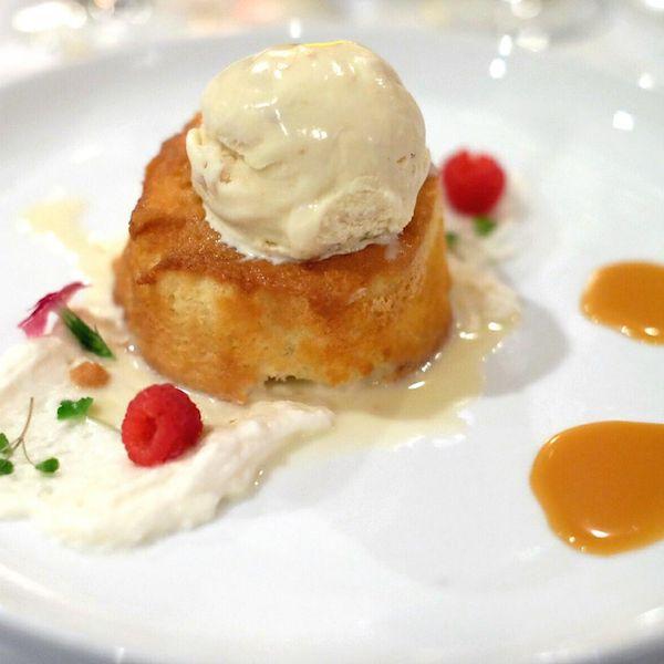 Warm Milk Cake, Bourbon Dulce de Leche, Macadamia Nut Ice Cream | ShesCookin.com from Chef Anthony Lamas - Southern Heat cookbook