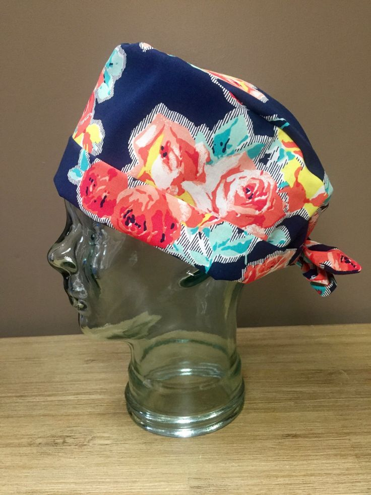 Navy with Red, Orange & Mint Roses Surgical Scrub Hat, Beautiful Women's Floral Scrub Cap, Custom Caps Company by CustomCapsCompany on Etsy