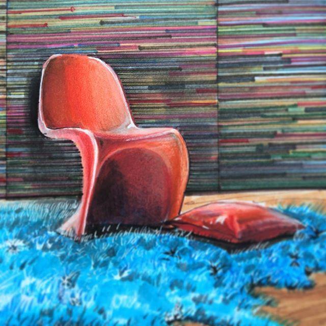 New#Foto #Sketchяркий стул Verner Panton от компании Vitra на фоне обоев из новой коллекции Rainbows. Производитель #omexco @skol_russia @skol_ekaterinburg @skol_perm