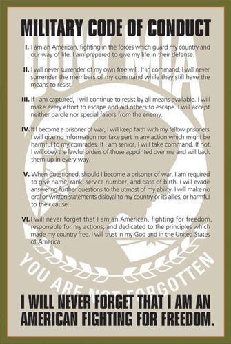 POW-MIA MILITARY CODE OF CONDUCT American Fighting for Freedom Poster - available at www.sportsposterwarehouse.com