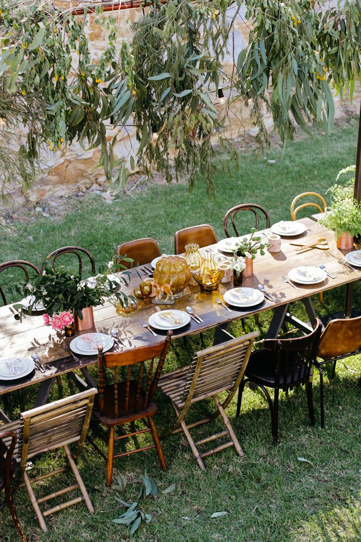 Vintage Chairs, Bohemian Outdoor Wedding at St. Joseph's Guesthouse in New South Wales, Australia. Photo by Lara Hotz | Styling & Design by She Designs