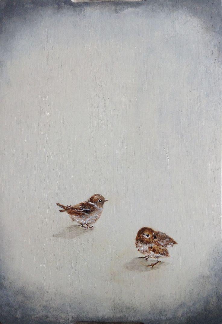 Pájaros sobre tabla