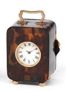 Antique gold mounted tortoiseshell miniature carriage clock