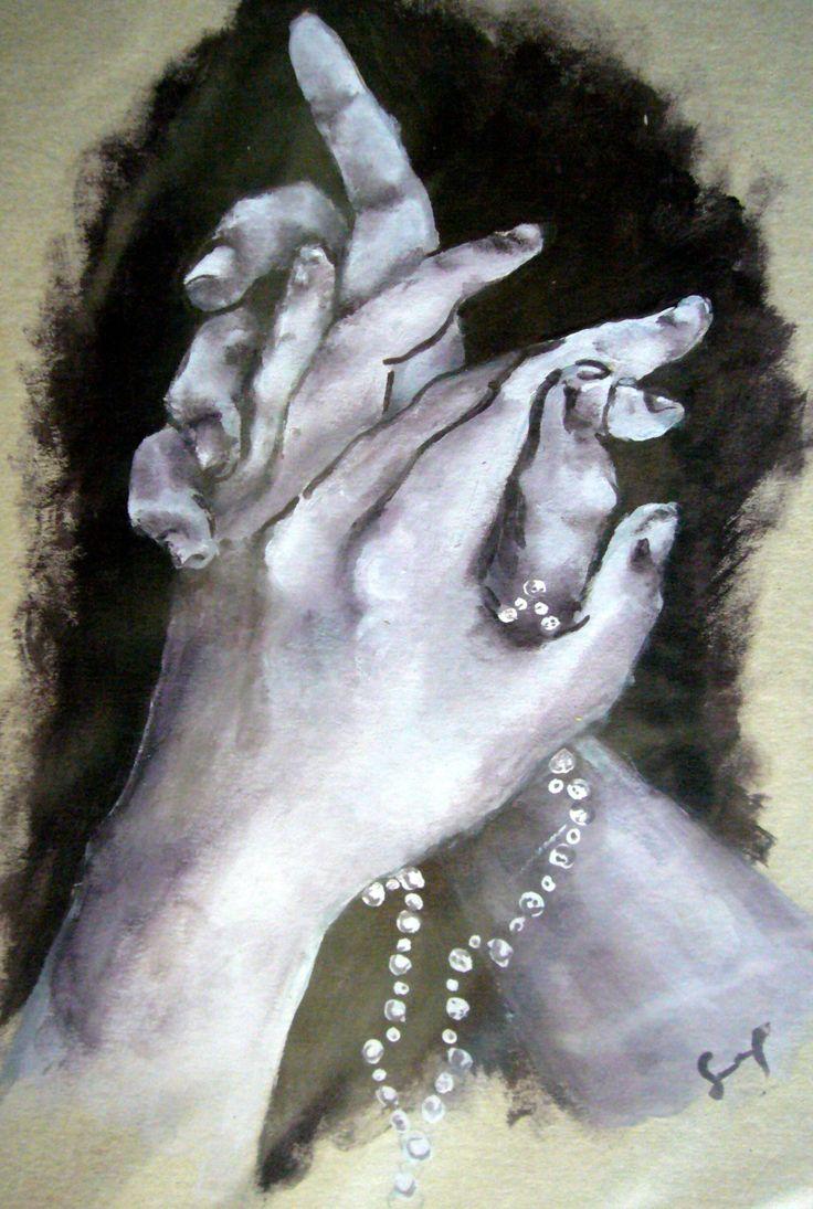 """#Mani Congiunte, Studio per opera """"Preghiera"""" di Sara Morghese, tecnica mista su cartone"""