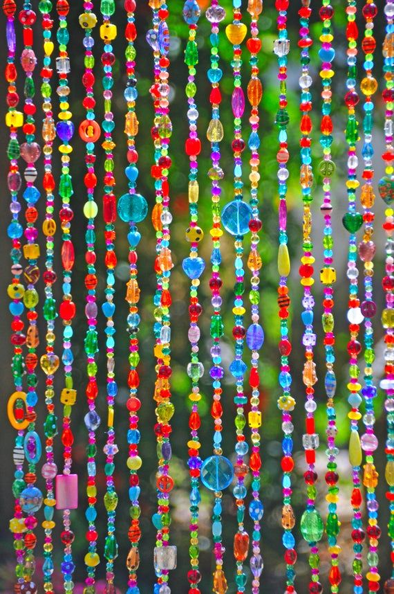 Colorful Bohemian Door Beaded Curtain Made To Order In 2020 Door Beads Hanging Door Beads Beaded Door Curtains