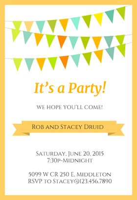 """""""Pennants and Ribbon Yellow""""  printable invitation template. Customize, add text and photos. Print or download for free!"""
