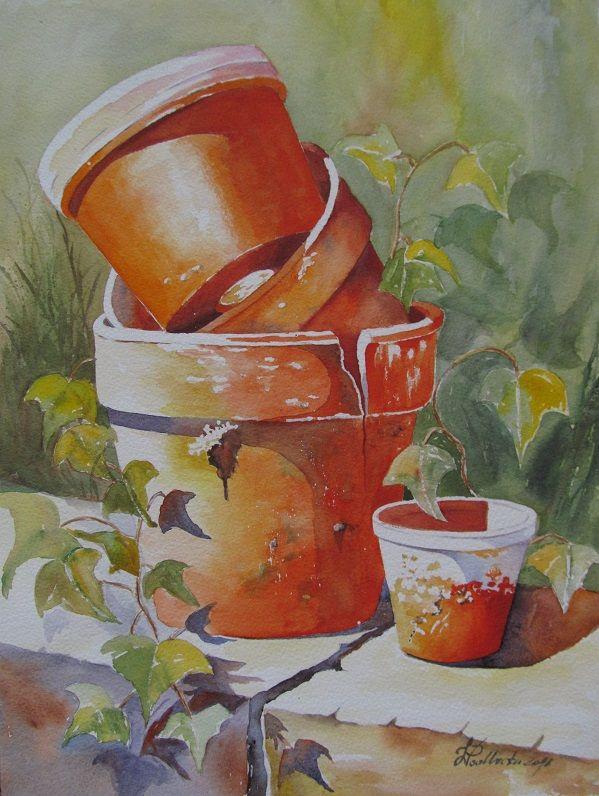 Wykonawcy, Ostatnimi czasy namalowane........ - Doniczki. Malowane krok po kroku, tutorial J. Simon. Akwarela 41/31
