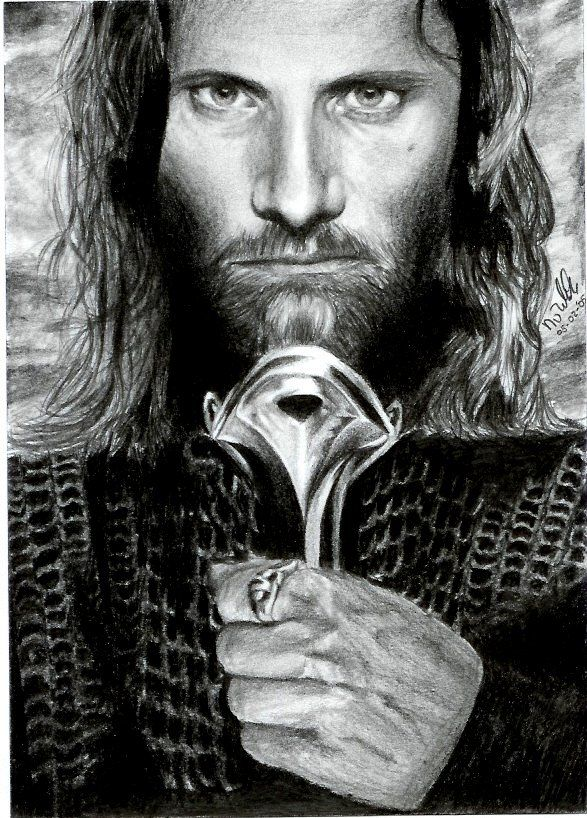 LOTR - Aragon - Pencil drawing - Apparently done in just 10 hours. This scan doesn't do it justice.