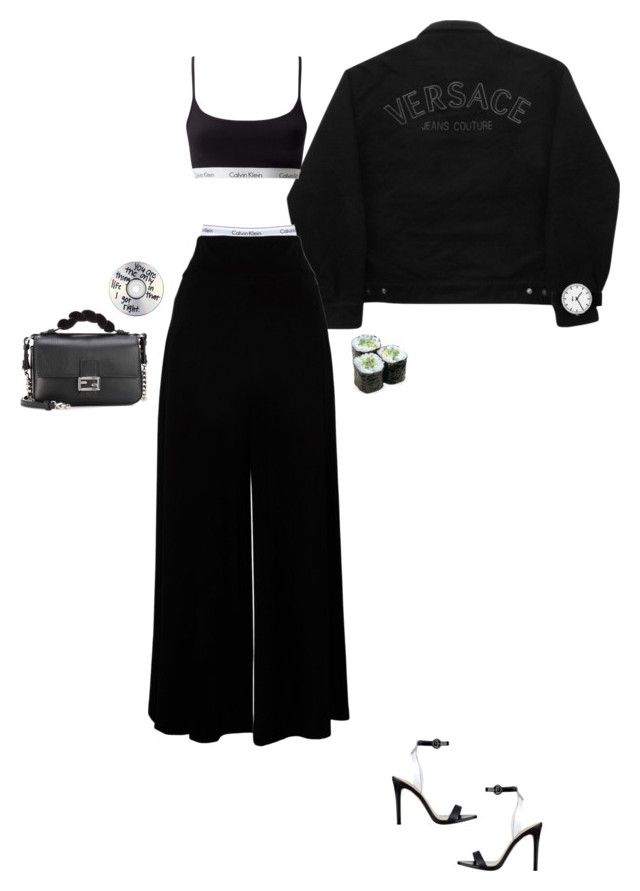 """B&W"" by gokcestyles ❤ liked on Polyvore featuring Versace Jeans Couture, Rosendahl, GUESS, Fendi and Calvin Klein Underwear"