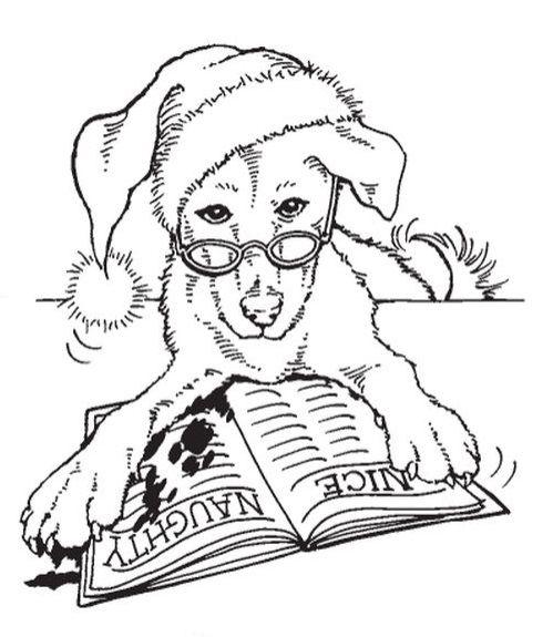Stampendous - Cling Mounted Rubber Stamp - Santa Dog - bjl ...