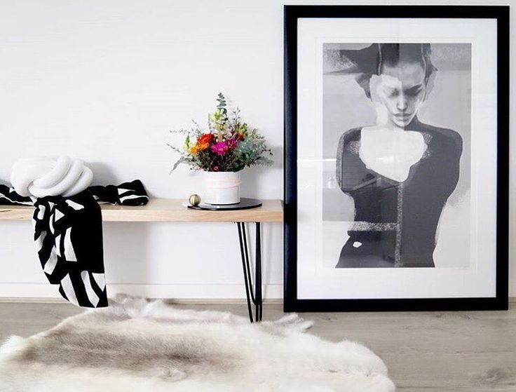 In love with @insidefourlines styling in this space Black and white Ardour Wolf Throw rug available online | http://ift.tt/1NPADcz