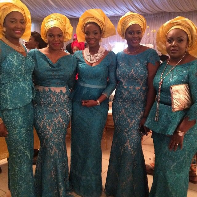 Nigerian wedding teal and yellow ore-iyawo aso-ebi color combination