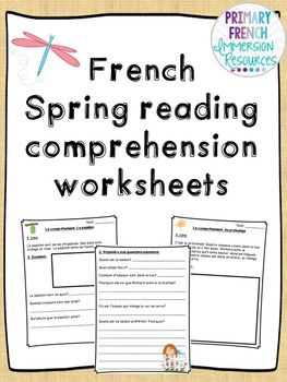 french spring reading comprehension sheets french activities reading comprehension. Black Bedroom Furniture Sets. Home Design Ideas