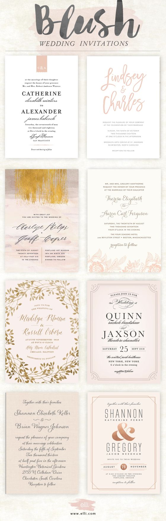 gorgeous blush pink wedding invitations at ellicom
