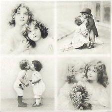 4x Singolo Lusso Carta Tovaglioli per Decoupage e artigianato vintage coppie di bambini
