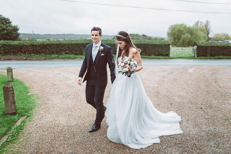 Image by Lemonade Pictures - Grey Vera Wang Wedding Dress Cooling Castle Barn Winter Wedding Lemonade Pictures