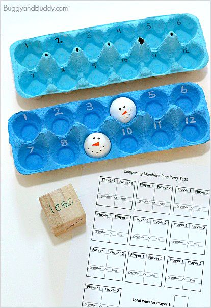 Perfect winter or rainy day activity! (Comparing Numbers with a Ping Pong Ball Toss Math Game)~ BuggyandBuddy.com