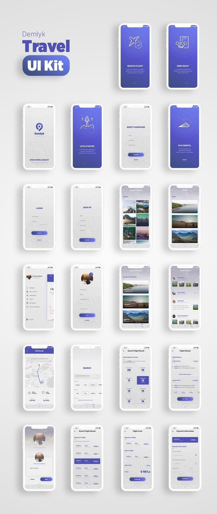 Demlyk Travel iOS UI Kit – Kits de interfaz de usuario en UI8   – Web und App Design