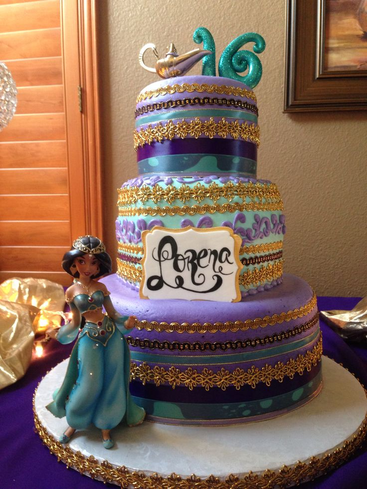 My daughter Lorena's Princess Jasmine sweet 16 cake- by Royalty Cakes Chino, CA
