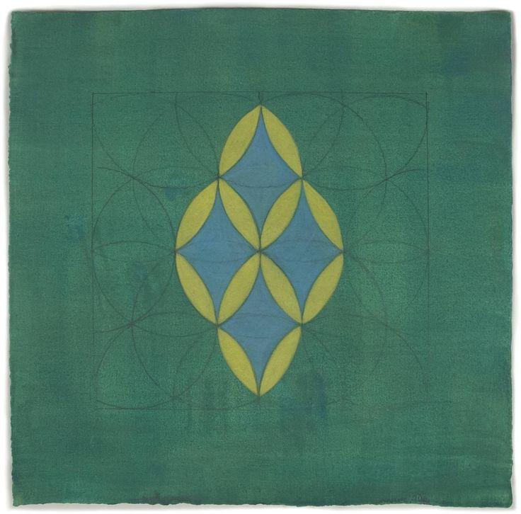 2. szám 1 - Altoon Sultan  2013 Méretek: 15. a. H x 15 in. W - $2,000 - Ez a munka papíron kézzel tónusú a művész egy pigmentált gél megoldás. Ezután húz egy design grafit származó iszlám művészet, hat kör vesz körül egy. Tojástemperával alkalmazunk kihúzni formák, minták, és különböző színkombinációk ebben a mátrixban. Ez a munka keretezetlen.