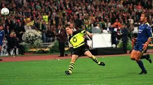 B Dortmund 3 Juventus 1 in May 1997 in Munich. Substitute Lars Ricken makes it 3-1 in the Champions League Final.