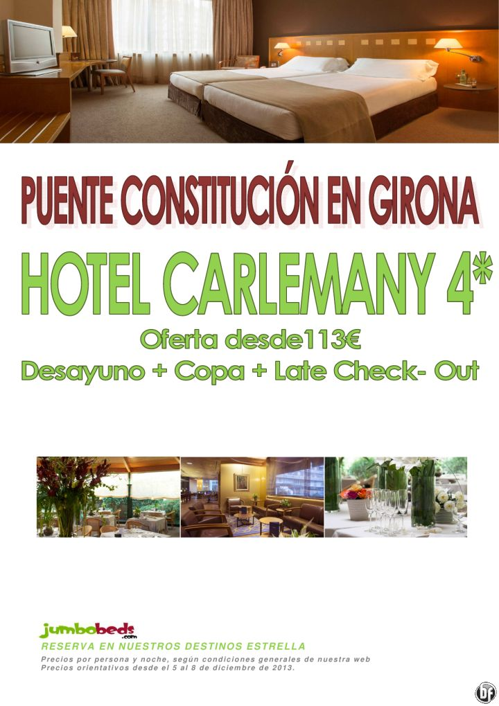 Girona hotel Carlemany puente de diciembre dsd 113€ pax/día ad+copa+late check out - http://zocotours.com/girona-hotel-carlemany-puente-de-diciembre-dsd-113e-paxdia-adcopalate-check-out/