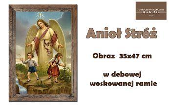 Obraz Anioła Stróża w dębowej woskowanej ramie.  Wspaniały prezent na Chrzest, Komunię lub Bierzmowanie.  Zobaczcie inne nasze obrazy w dębowych ramach na http://bit.ly/wdebowejramie