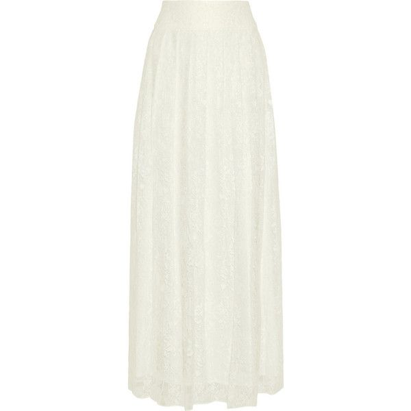 Alice + Olivia Caprice lace maxi skirt (665 BRL) ❤ liked on Polyvore featuring skirts, white, pleated skirt, long white maxi skirt, white maxi skirt, maxi skirt and long pleated maxi skirt