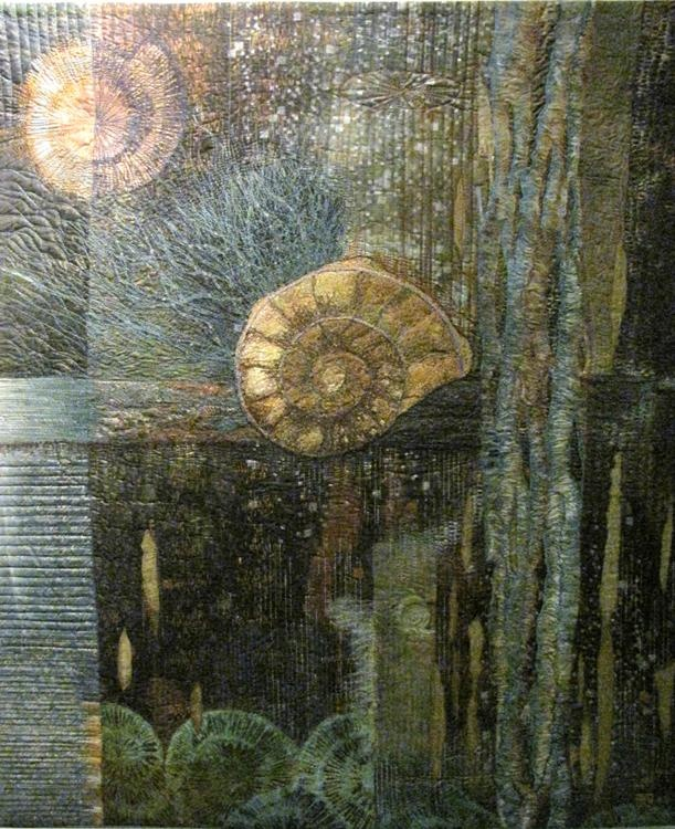 The Fossil by Lonni Rossi. I love this work, the colours, the composition, the content and the beautiful stitching. S