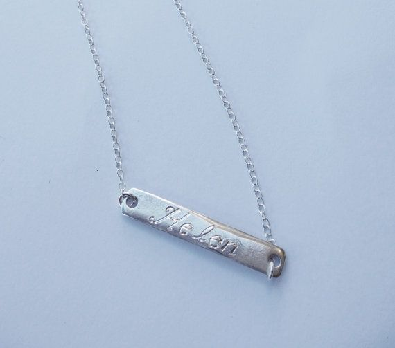Sterling silver name bar. Personalized Necklace by SoCoolCharms