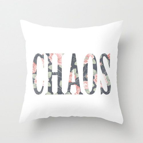 Typography Vintage Floral Wallpaper Throw Pillow Cover Decorative Throw Pillow Quote Minimalist Decor Chaos on Etsy, $36.00
