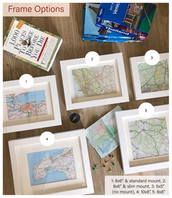 Mini Ingelijst Aangepaste Kaart Kunst Gepersonaliseerde Kaart Geschenk Elke Locatie Engagement Bruiloft Bestemming Papieren Jubileum Reislust Travel Gift Frame Gallery Wall Places To See