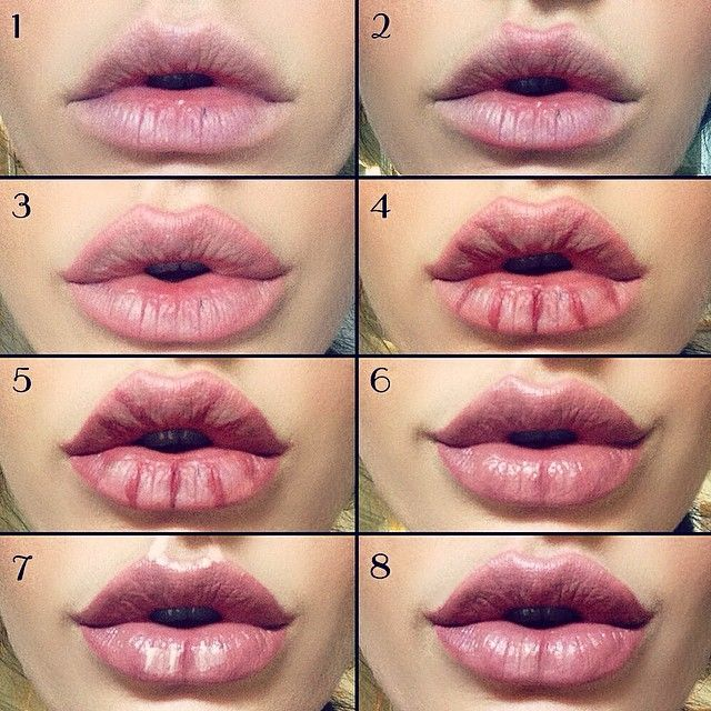 Kylie Jenner / Angelina Jolie lips without injections - makeup / lip tutorial from @makeupformermaidss on Instagram - how to get plump, full lips using just lipliner, lipstick and highlighter