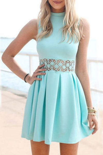 Aqua Lace Insert Mini Dress