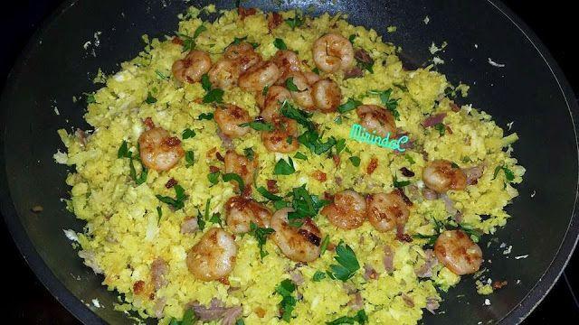Mirinda y sus recetas: Falso arroz con jamon y gambas. Dieta