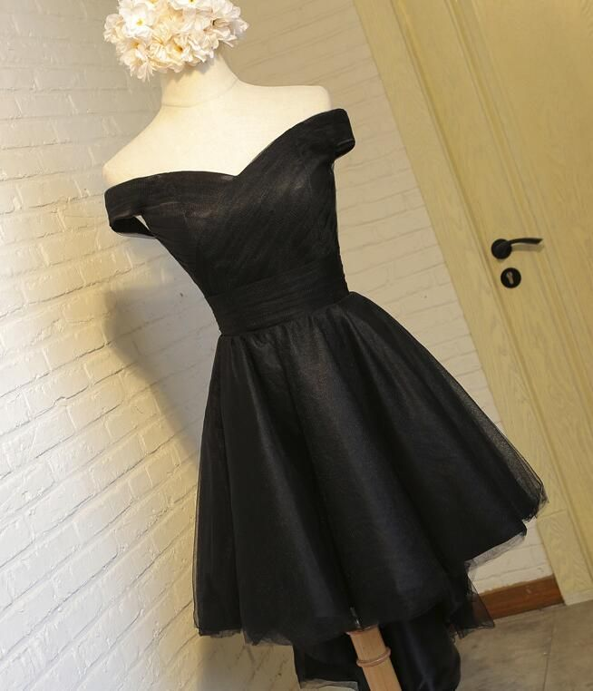 Simple Black Short High Low Off Shoulder Party Dress, Tulle Homecoming Dress, Lovely Formal Dress