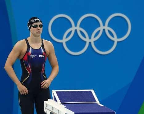 Katie Ledecky (USA) preps for the women's 400m freestyle final. - Rob Schumacher, USA TODAY Sports